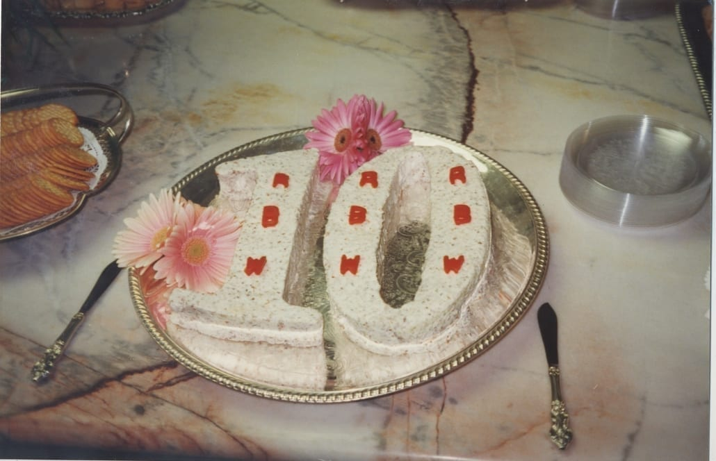 A cake in the shape of 10, celebrating Reed Wells Benson and Company's 10th anniversary in 1996