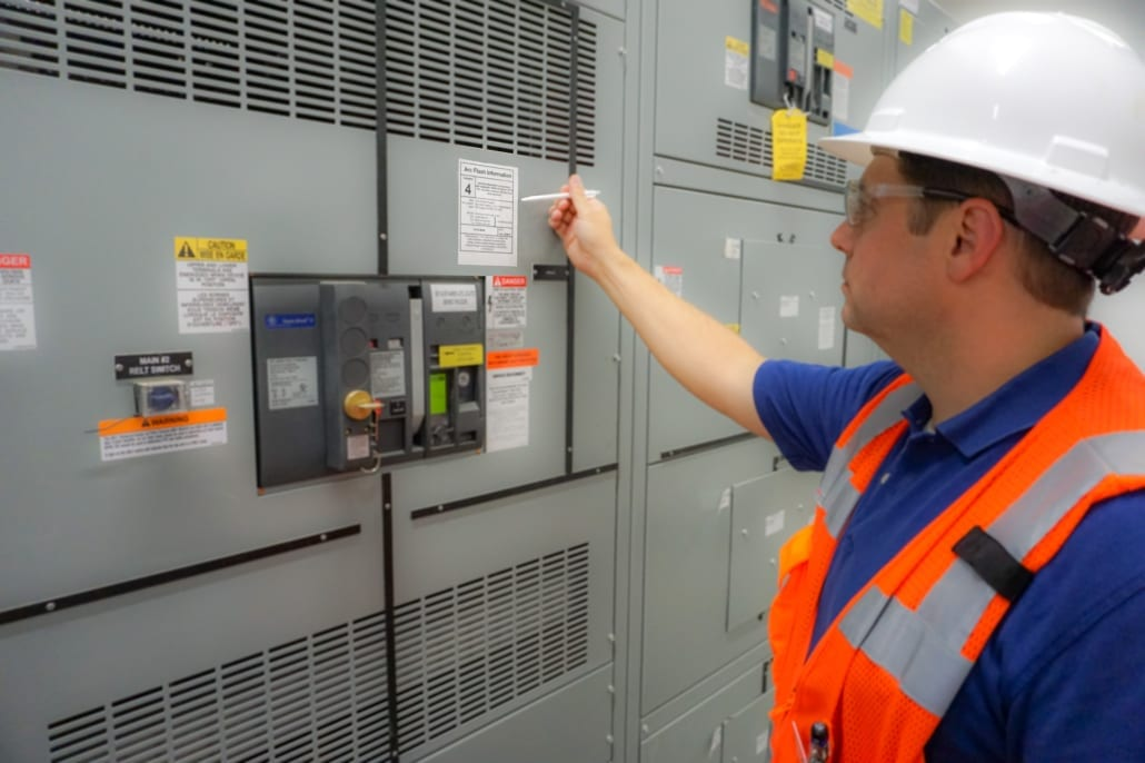 An engineer from RWB Consulting Engineers reviews Arc Flash information