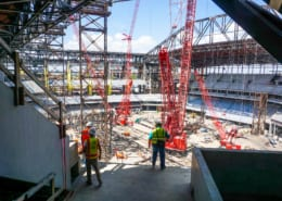 Globe Life Field Under Construction with Cranes