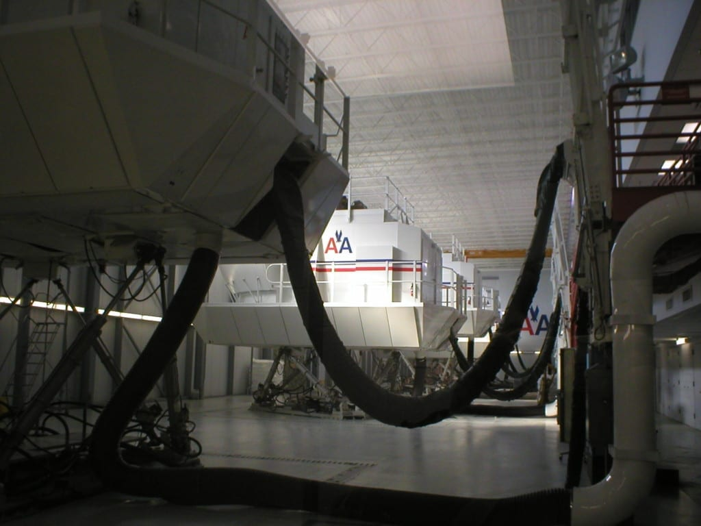 American Airlines flight simulators underneath